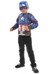 Disfraz Niño Capitán América Con Máscara Metálica y Pecho Musculoso