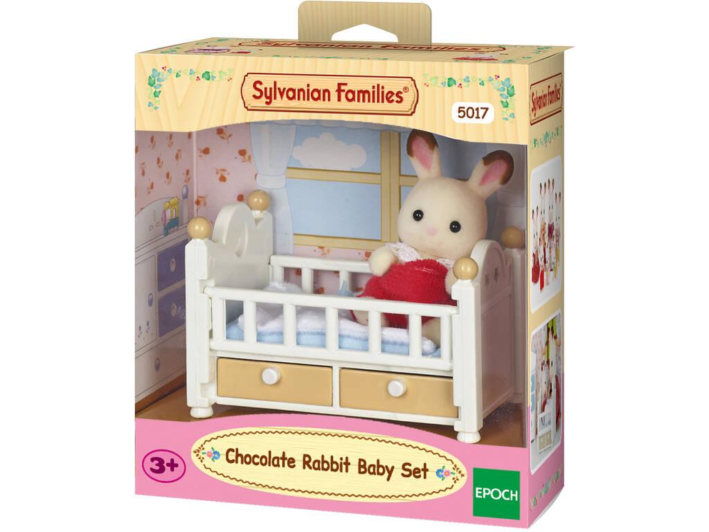 Sylvanian Families Set Coniglio bebè cioccolato con Lettino Epoch 5017