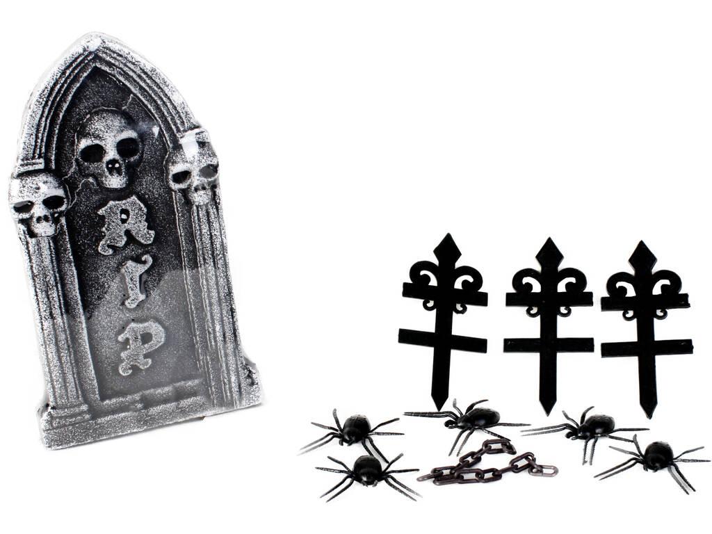 Lápida del Horror con Arañas 39x22x4cm