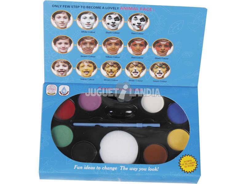 Conjunto Maquiagem Facial Com Pincel 8 Cores e Esponja