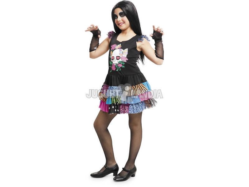 Costume Bimba Scheletro colorato L