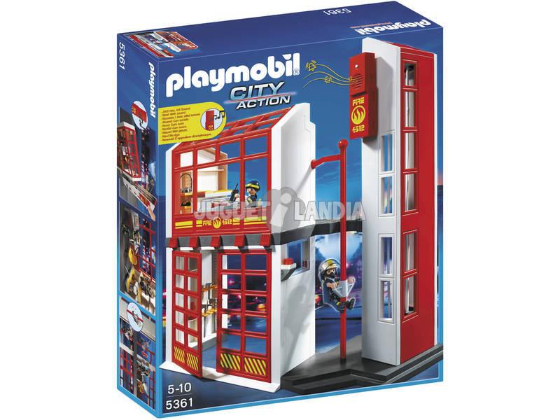 Quartel de bombeiros Playmobil com alarme
