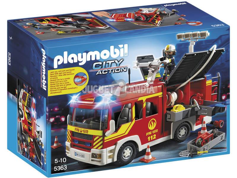 Playmobil caminhão de bombeiros com luzes e sons
