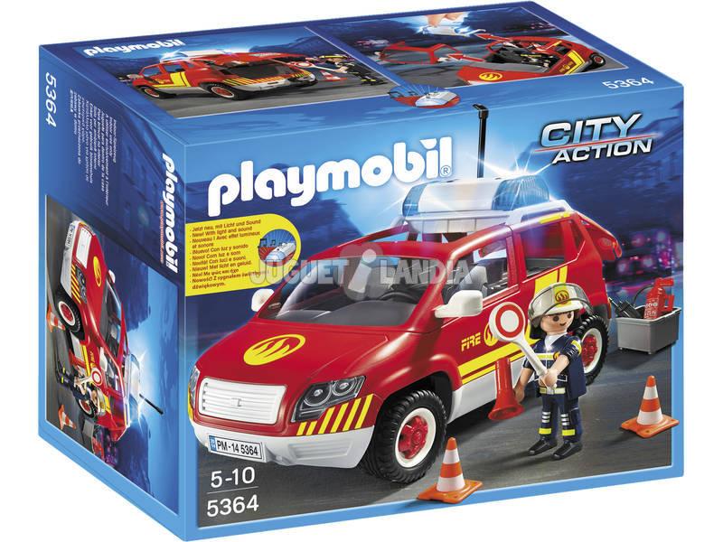 Chefe dos Bombeiros do Carro Playmobil com Luzes