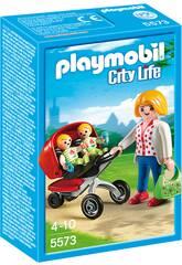 imagen Playmobil Mama con Carrito de Gemelos