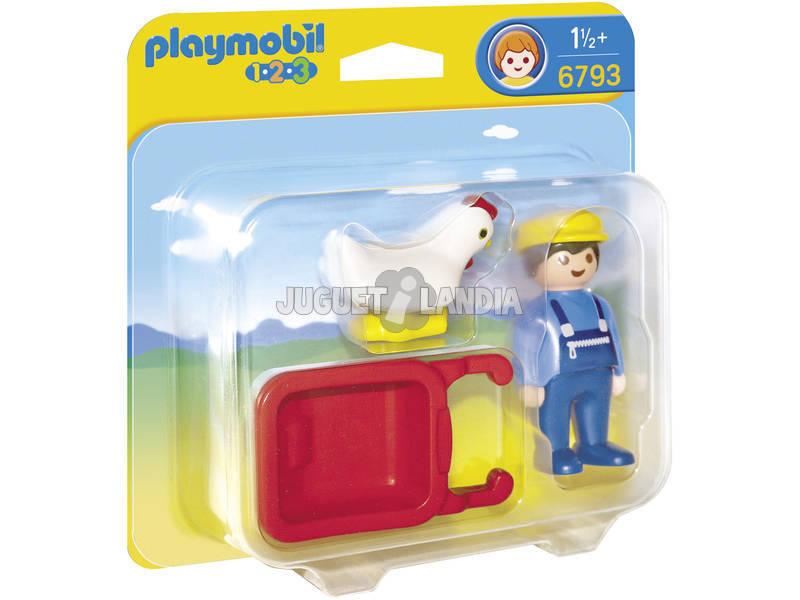 Playmobil 1.2.3 Granjero con Carretilla