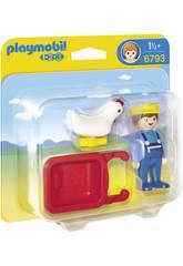 Playmobil 1.2.3 Fattore Con Carriola