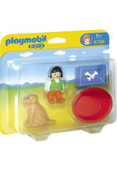 Playmobil 1.2.3 Niña con Perro