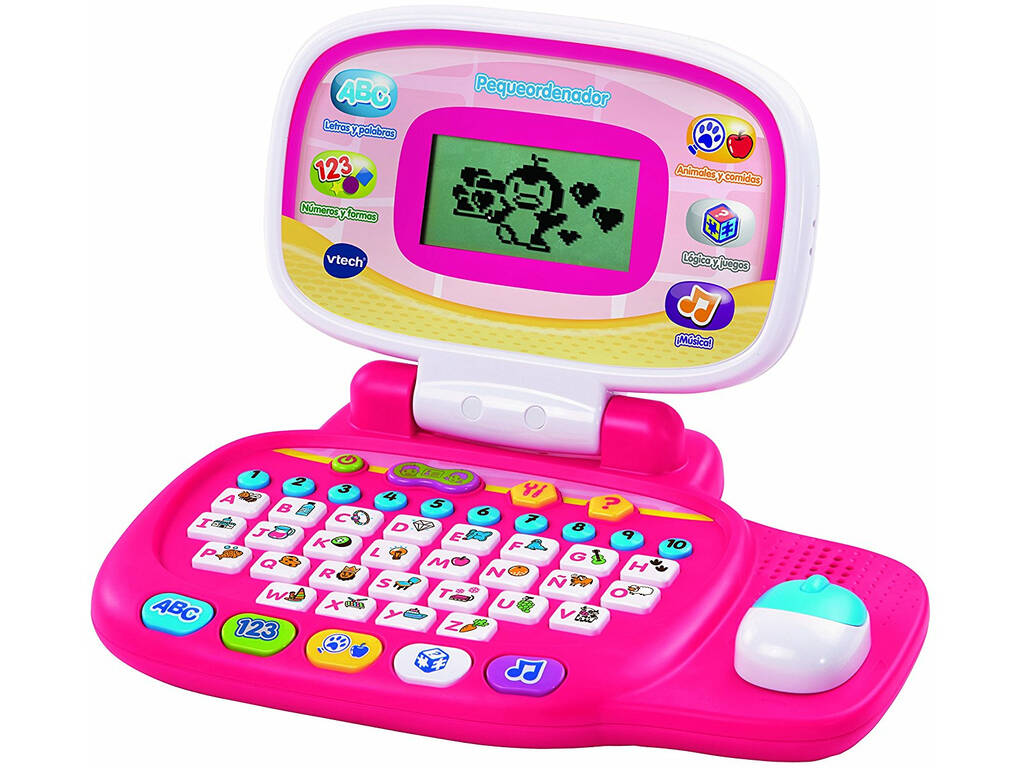 Pequeno computador rosa