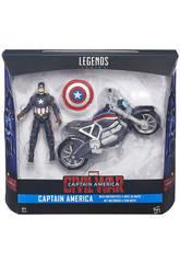 Capitán América Legends Figura 9 cn + Vehículo