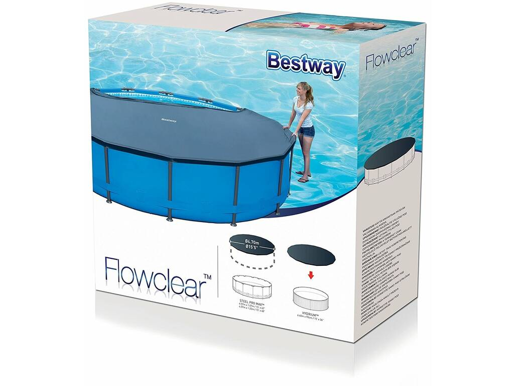 Cubierta para piscina de 457 cm bestway 58038 juguetilandia for Cubre piscinas bestway