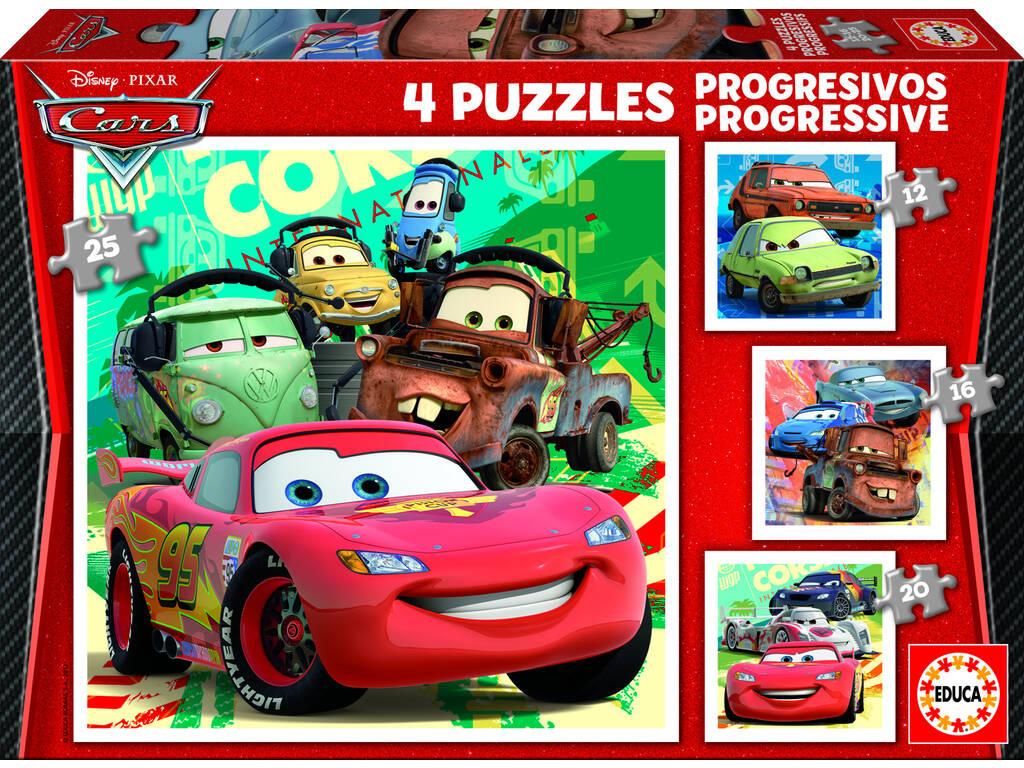 Quebra-cabeça progressivo 12-16-20-25 carros