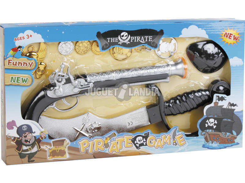 Set Pirata 9 piezas con Espada Negra 33.5 cm.