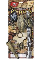 Set Armas Piratas con Hacha, Catalejo y Parche