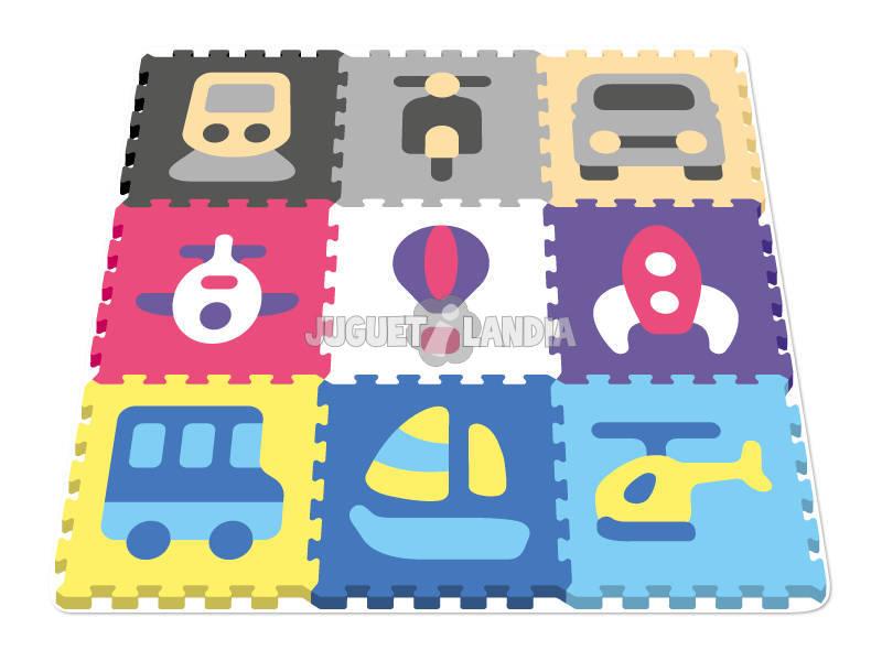 Set Eva Suelo Vehiculos 9 piezas 40 cm.