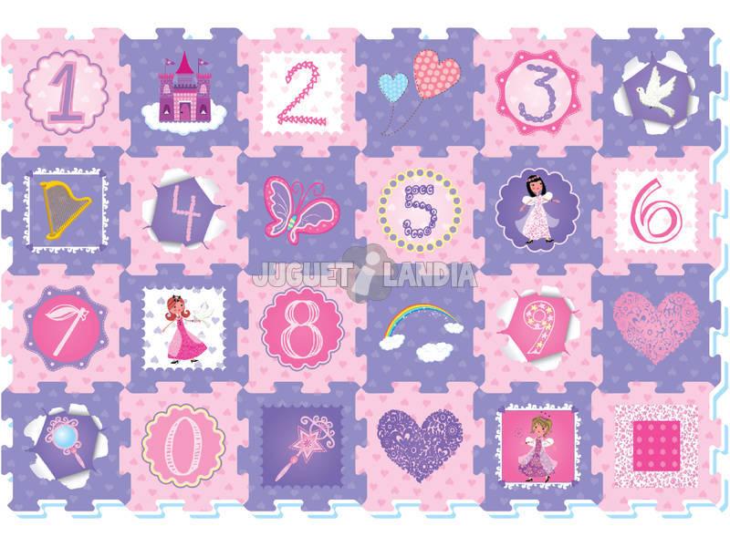 Tappeto Puzzle Principesse e numeri 24 pezzi
