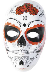 imagen Máscara Calavera Katrina Rosa de Día Muertos Rubies S3186