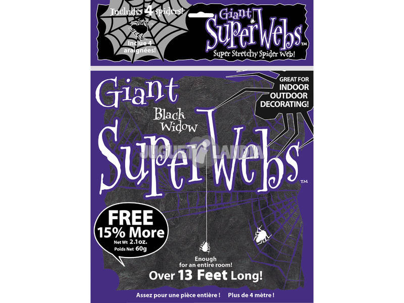 Telaraña Negra Gigante con 4 Arañas Rubies 2327