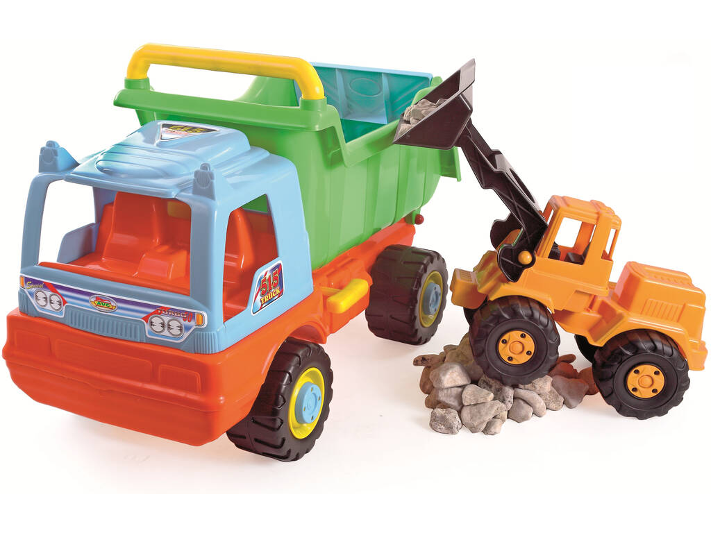 Camião Basculante e Escavadora de Brinquedo