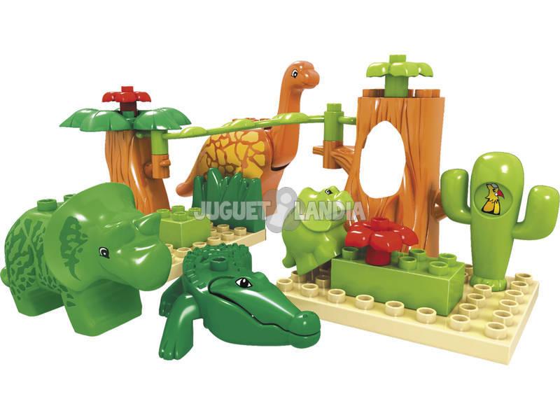 Balde Blocos Construção Dinossauros 17 Peças