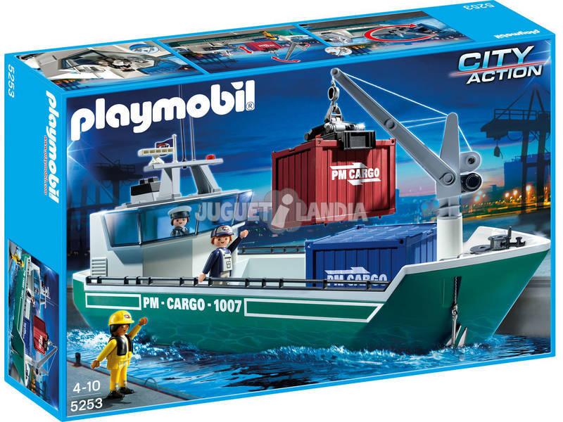 Playmobil Buque de carga con grua