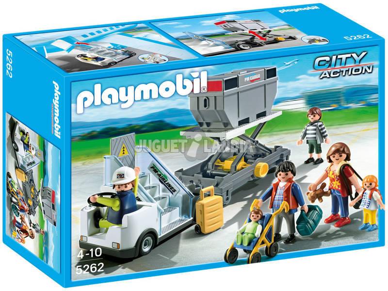 Playmobil escaleras avion con remolque carga