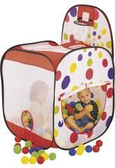 Maisonnette en tissu avec corbeille et 100 boules de 7 cm.