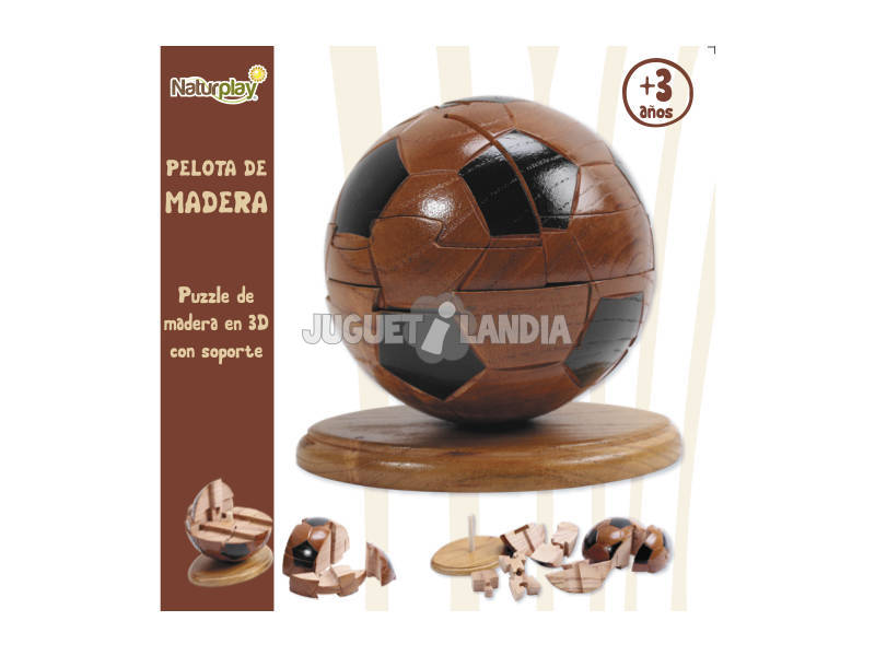 Puzzle 3D bola madeira