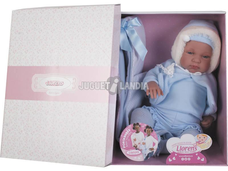 Bambolotto Recién Nacido Bebo Llorón con Portabebé 44 cm. Llorens 84421
