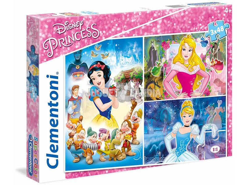 Disney Princess - 3x48 pezzi - Supercolor Puzzle Clementoni 25211