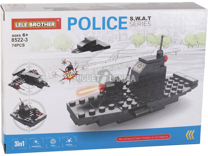 Veicoli da Guerra Polizia S.W.A.T Blocchi da Costruzione 74 Pezzi
