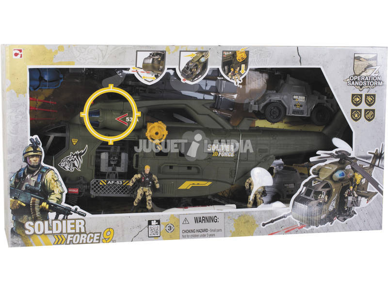 Elicottero con auto e Personaggi Soldier Force Operation Sandstorm