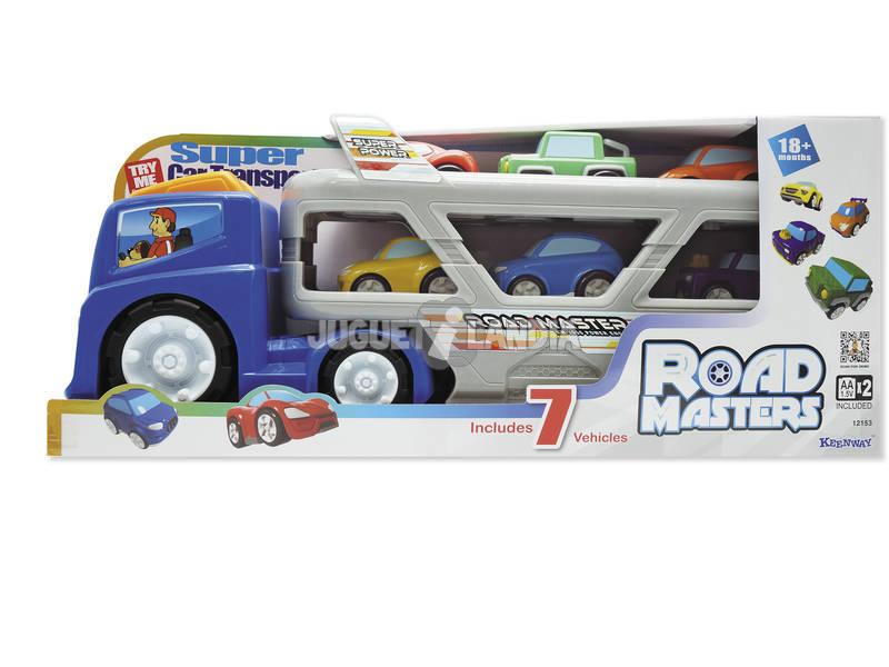 Camion trasportatore con auto e luce