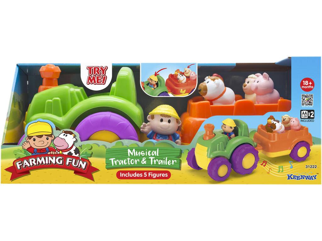 Tractor Musical con Remolque y Aniales de Granja