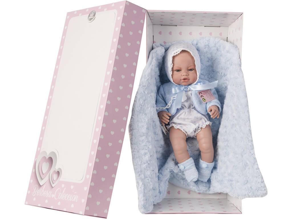 Muñeco Recién Nacido 42 cm. Pelele Blanco y Mantita Berbesa 5114