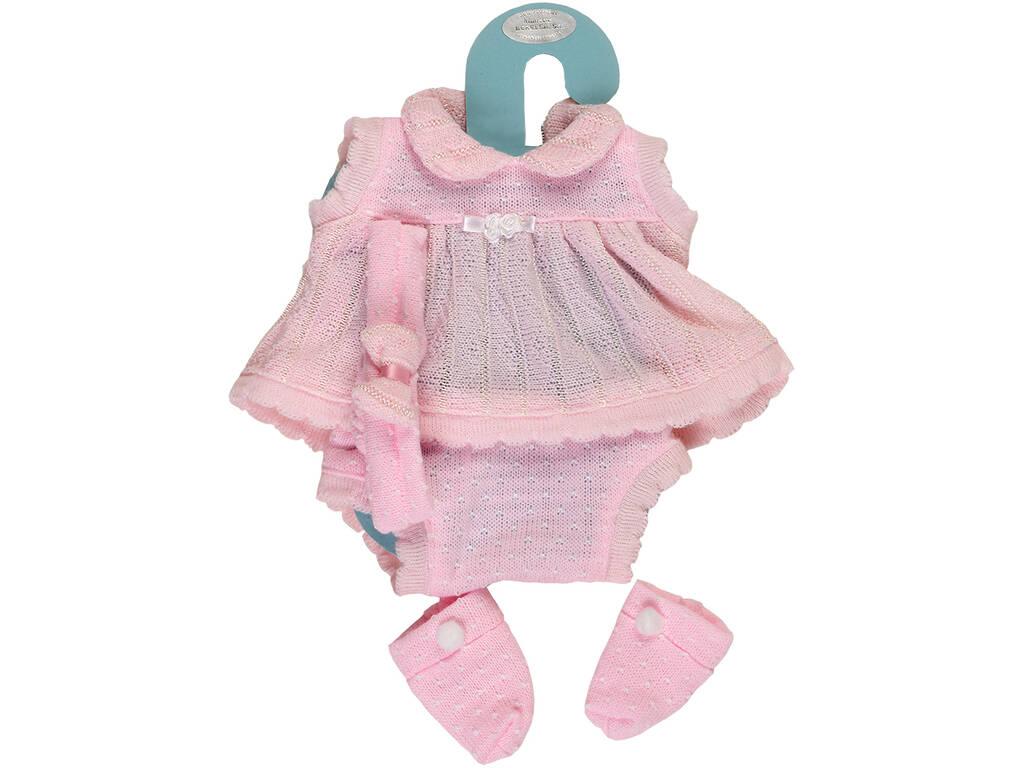 Vestido de Boneca Recém Nascida 42 cm. Pano Rosa Berbesa 5100