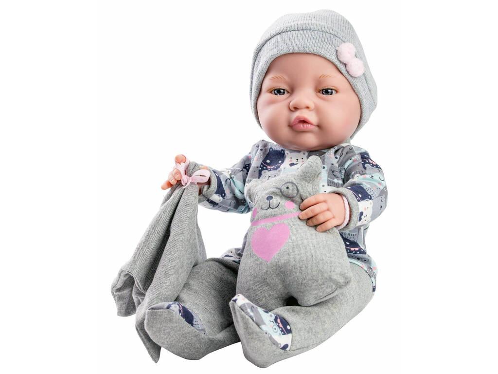 Bambola Bebita 45 cm. Peto Gris y Osito Paola Reina 5182