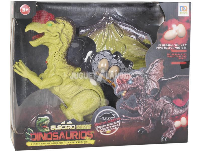 Dinosauro alato 32 cm. Camminatore con luce, suono e 3 uova