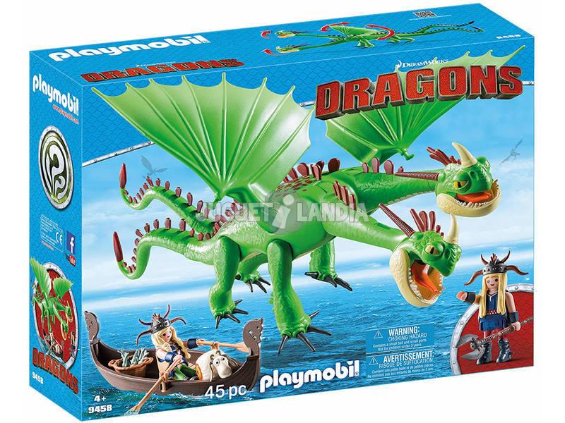 Playmobil Como Treinares O Teu Dragão Cabeçaquente e Cabeçadura com Dragão 2 Cabeças 9458