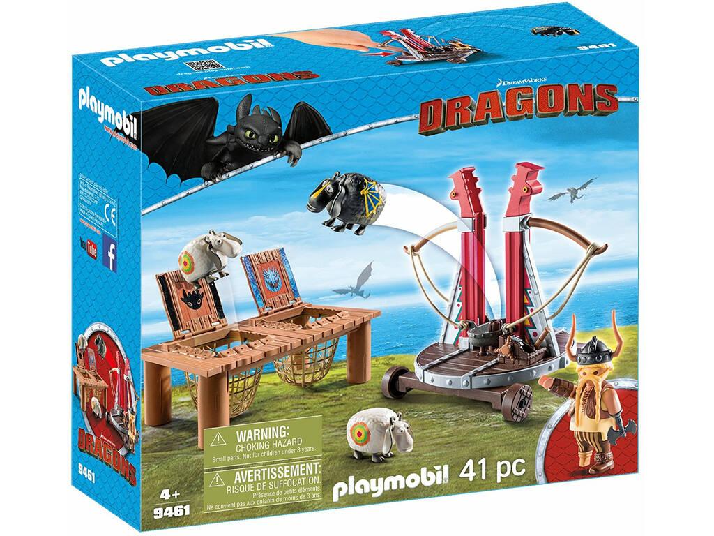 Playmobil Cómo Entrenar a Tu Dragón Bocón con Lanzadera de Ovejas 9461