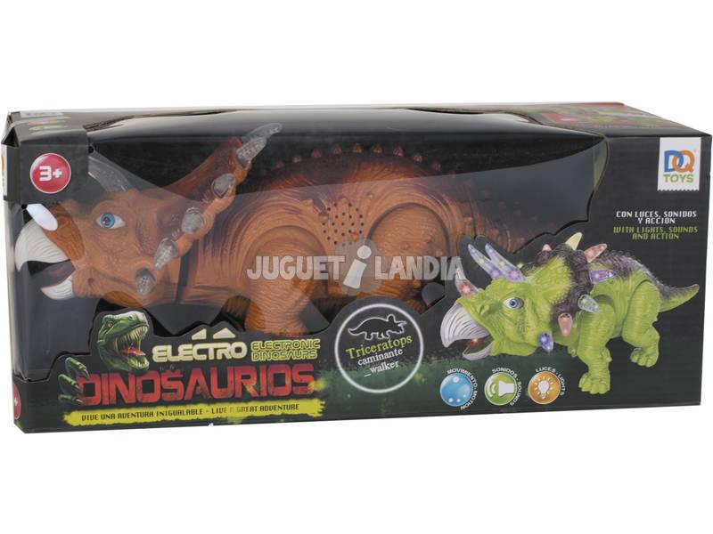 Dinosaurio Triceratops Andador con Luz y Sonido de 36 cm.