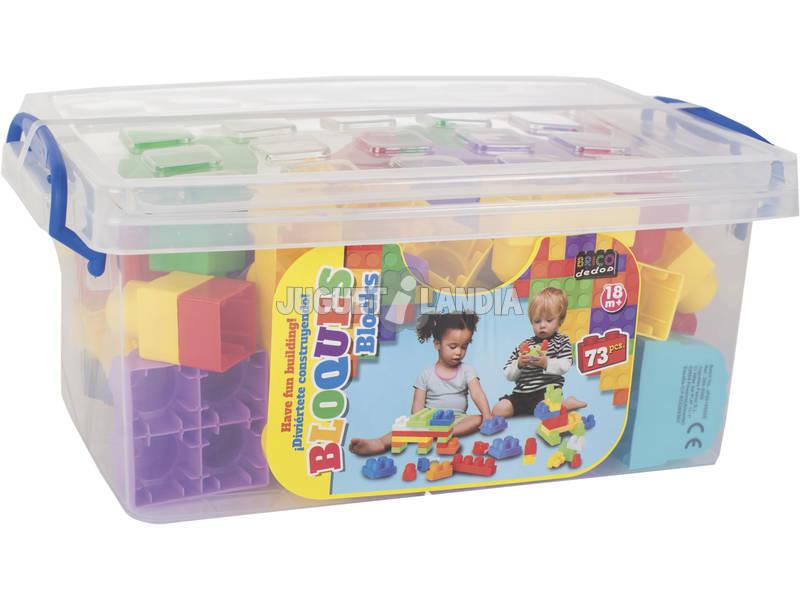 Caja con Bloques de Construccion 73 Piezas