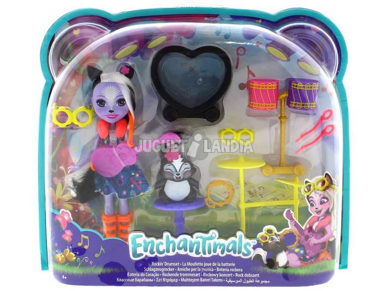 Enchantimals Boneca Sage Skunk e A Sua Bateria Roqueira Mattel FRH41