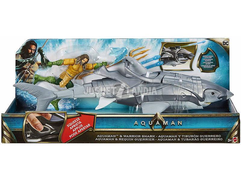 Aquaman Tiburón Con Figura Aquaman Mattel FWX37
