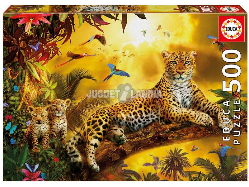 Puzzle 500 Leopardo con Cachorros Educa 17736