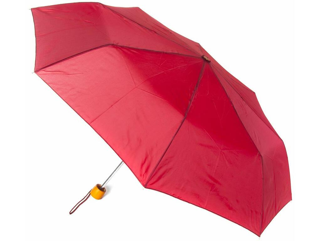 Paraguas Adulto Plegable Mini Liso Puño Madera 54 cm. 8 Varillas