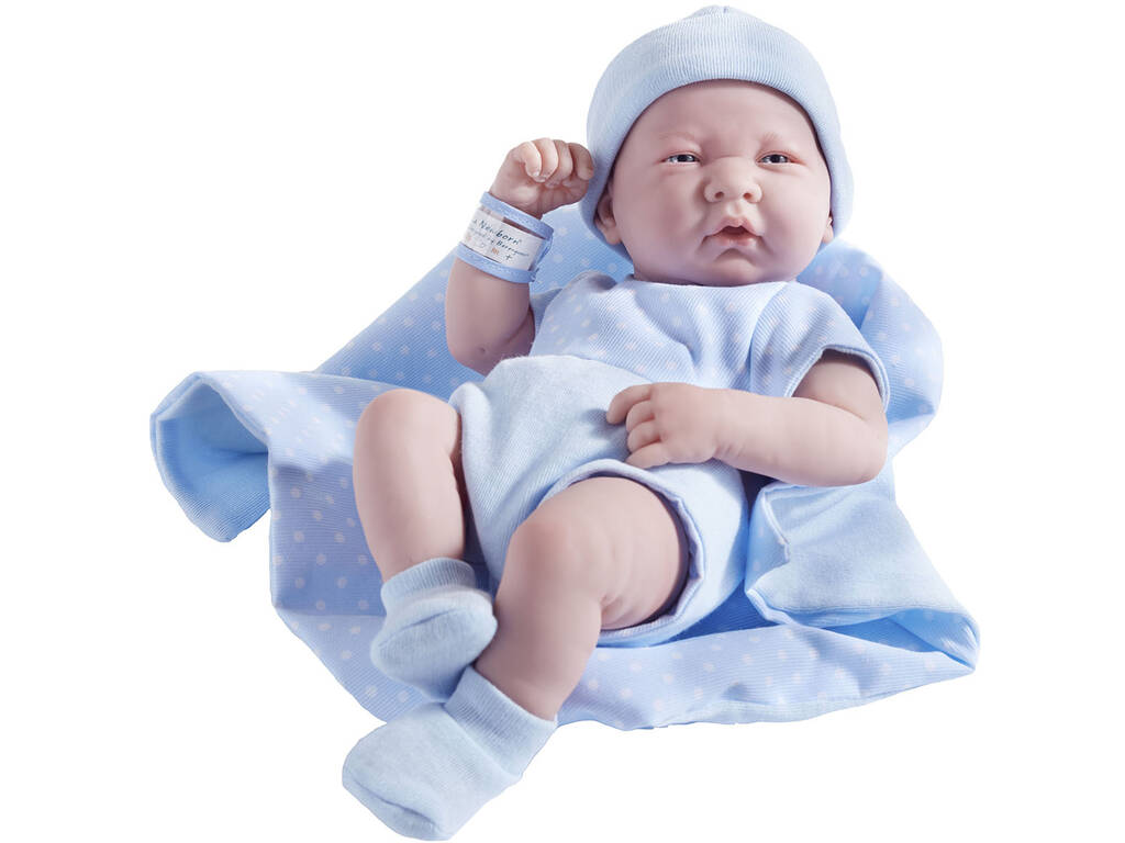 Muñeco Recién Nacido 36 cm. Traje Lunares Azul y Manta JC Toys 18540