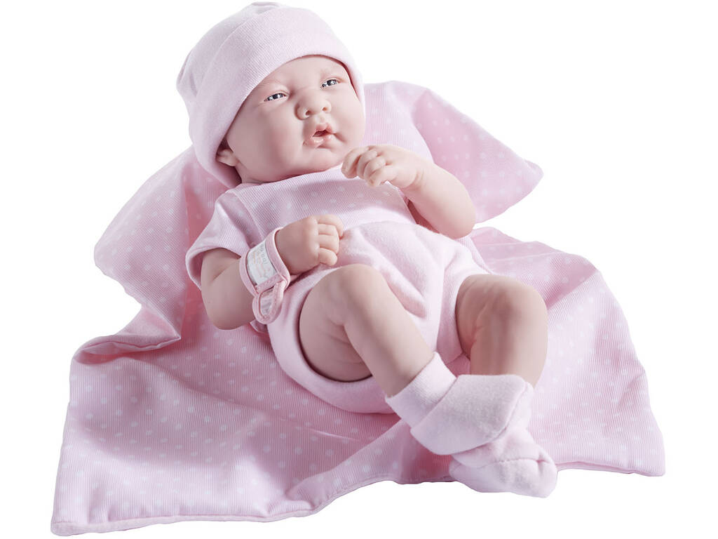 Muñeca Recién Nacida 36 cm. Traje Lunares Rosa y Manta JC Toys 18541
