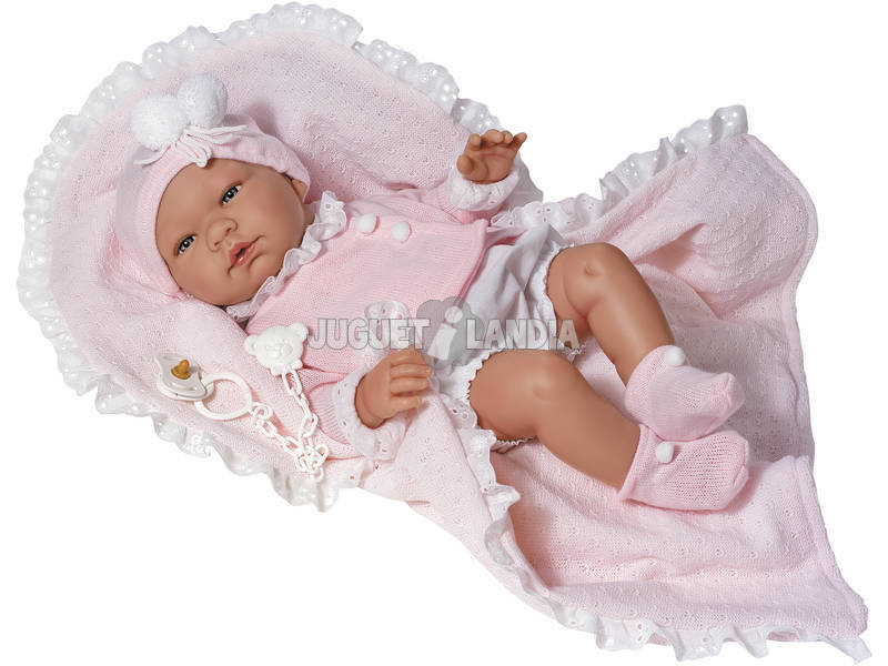Bambola María Pelele 43 cm. Giacca Rosa e Sacco per bebé Asivil 0363520