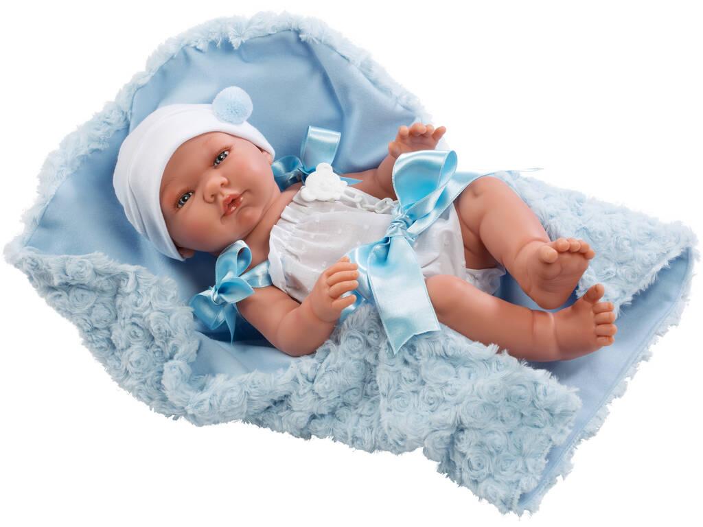Boneca Pablo Pelele 43 cm. Mantinha Dacha Azul Asivil 0364301